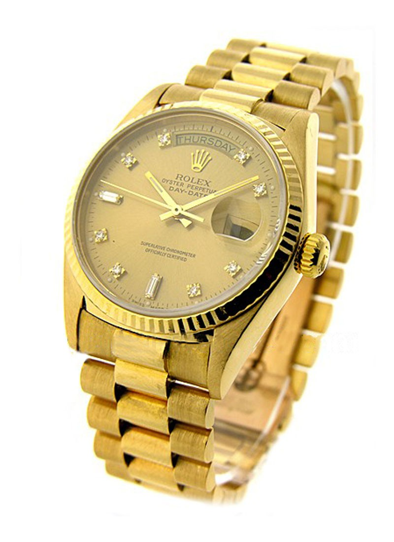 Pre-Owned Rolex President Day Date 36mm in Yellow Gold with Fluted Bezel