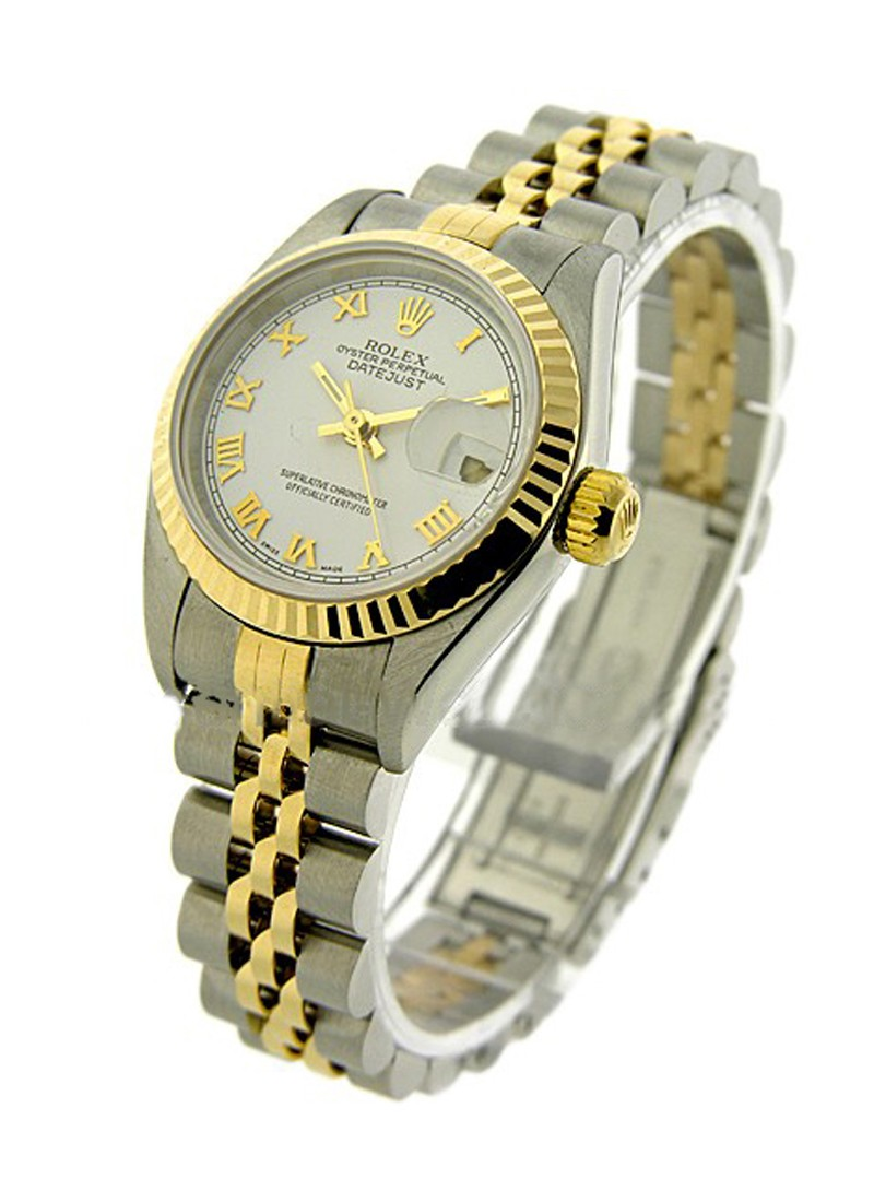 Rolex Used Lady''s 2-Tone Datejust in Steel with Yellow Gold Fluted Bezel