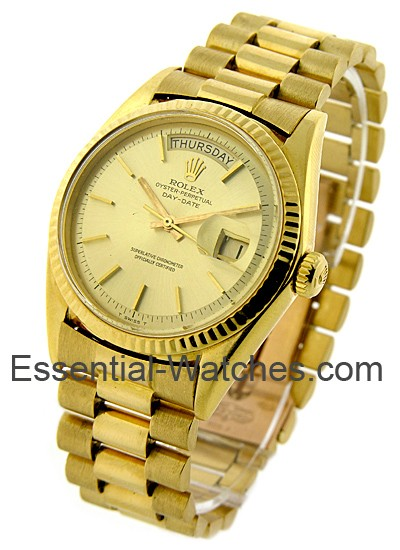 Rolex Used President Day Date 35mm in Yellow Gold with Fluted Bezel