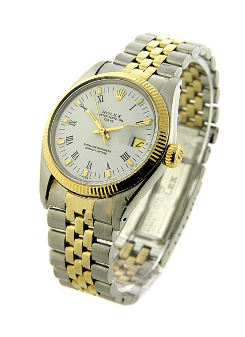 Rolex Used Datejust in Steel with Yellow Gold Fluted Bezel