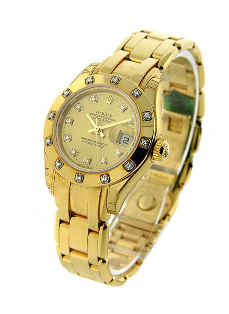 Rolex Unworn Masterpeice Lady's in Yellow Gold with 12 Diamond Bezel