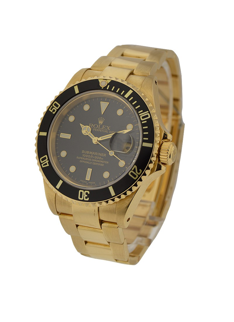 Rolex Used Submariner in Yellow Gold with Black Bezel