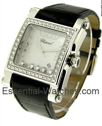Chopard Happy Sport Square in White Gold with Diamond Bezel