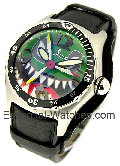 Corum Bubble Dive Bomber Sharks Head in Steel