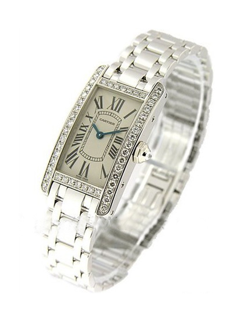 Cartier Tank Americain in White Gold with Diamond Bezel