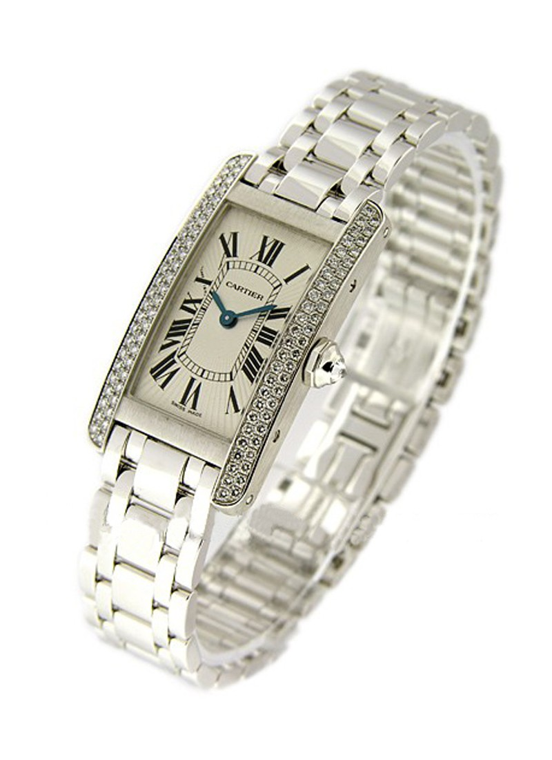 Cartier Tank Americaine in White Gold with Two Row Diamond Bezel