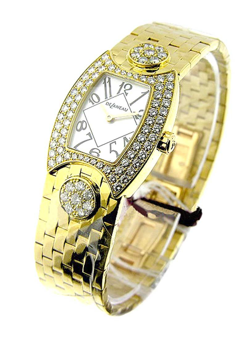 Delaneau Princess 23mm in Yellow Gold with Diamonds Bezel and Lugs