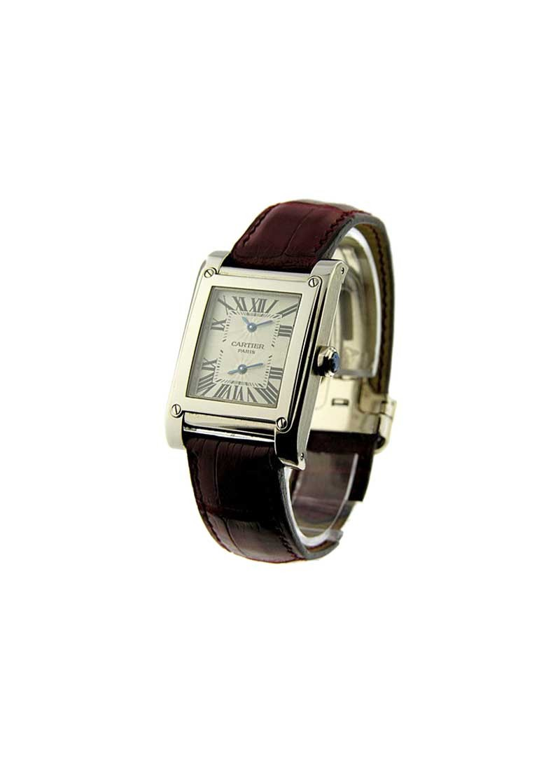 Cartier Tank a Vis Dual Time in White Gold