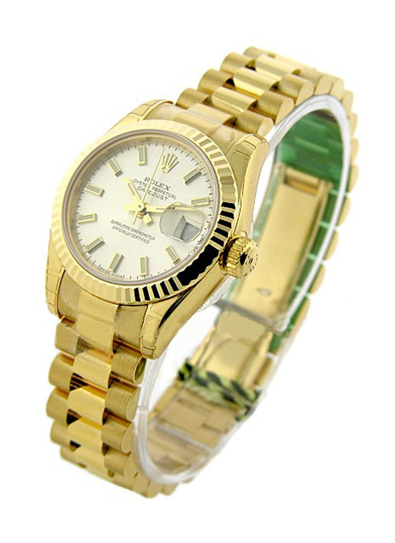 Rolex Unworn Lady's YG DateJust  with Fluted Bezel   President