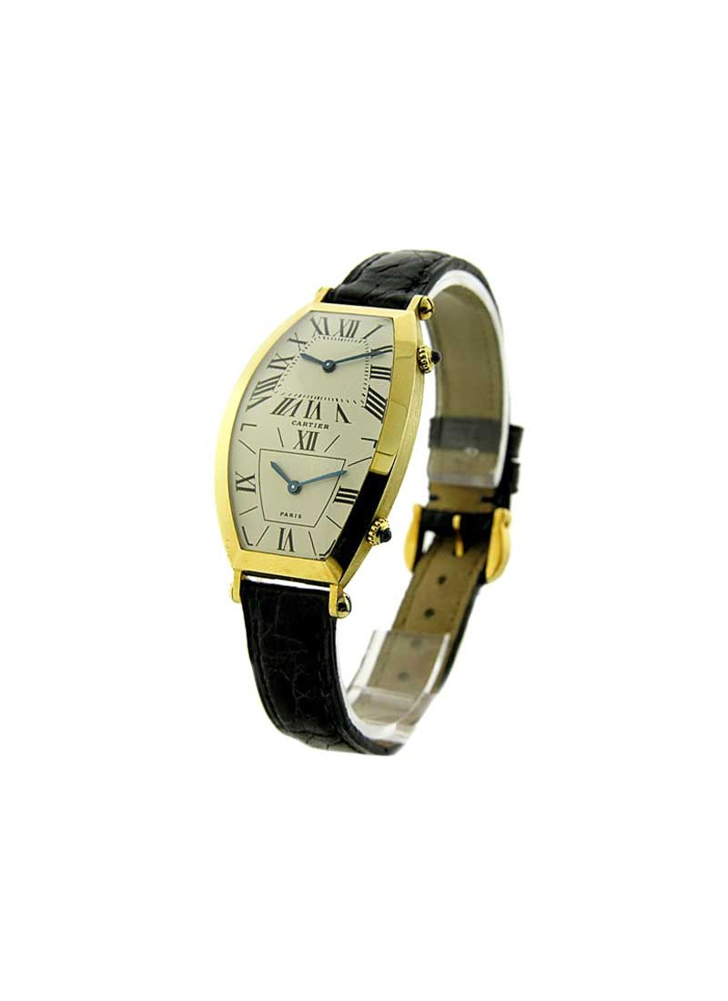 Cartier Torneau 2-Time Zone in Yellow Gold