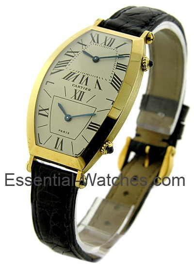 Cartier Torneau 2 Time Zone in Yellow Gold