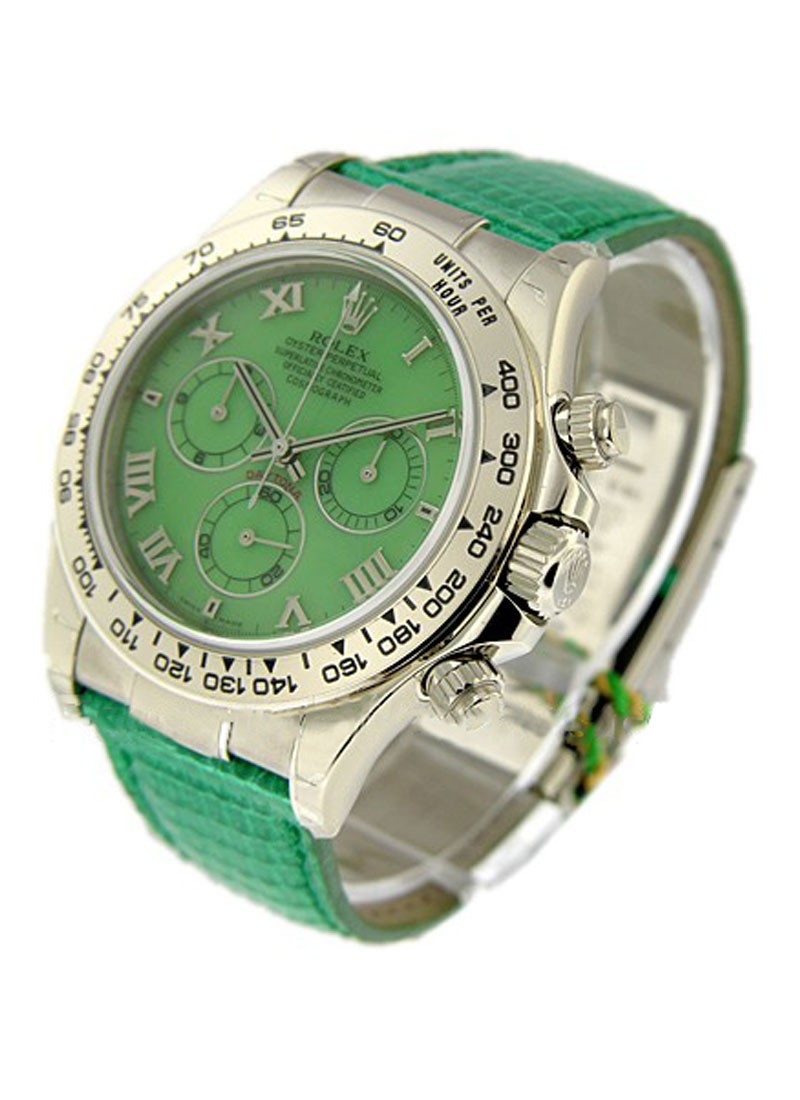 Rolex Used Beach Daytona Green   White Gold