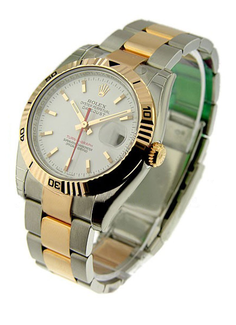 Rolex Unworn Datejust in Steel with Rose  Gold Turn o graph Bezel