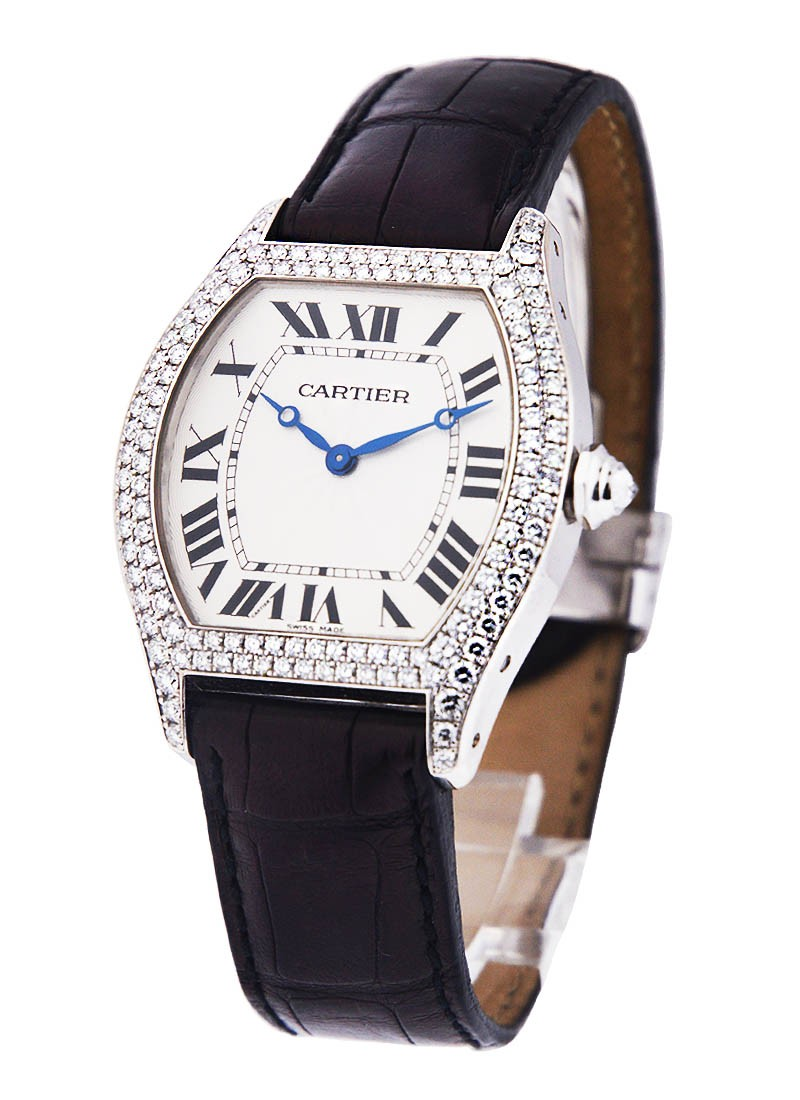 Cartier TORTUE in White Gold with 2   Row Diamond Case