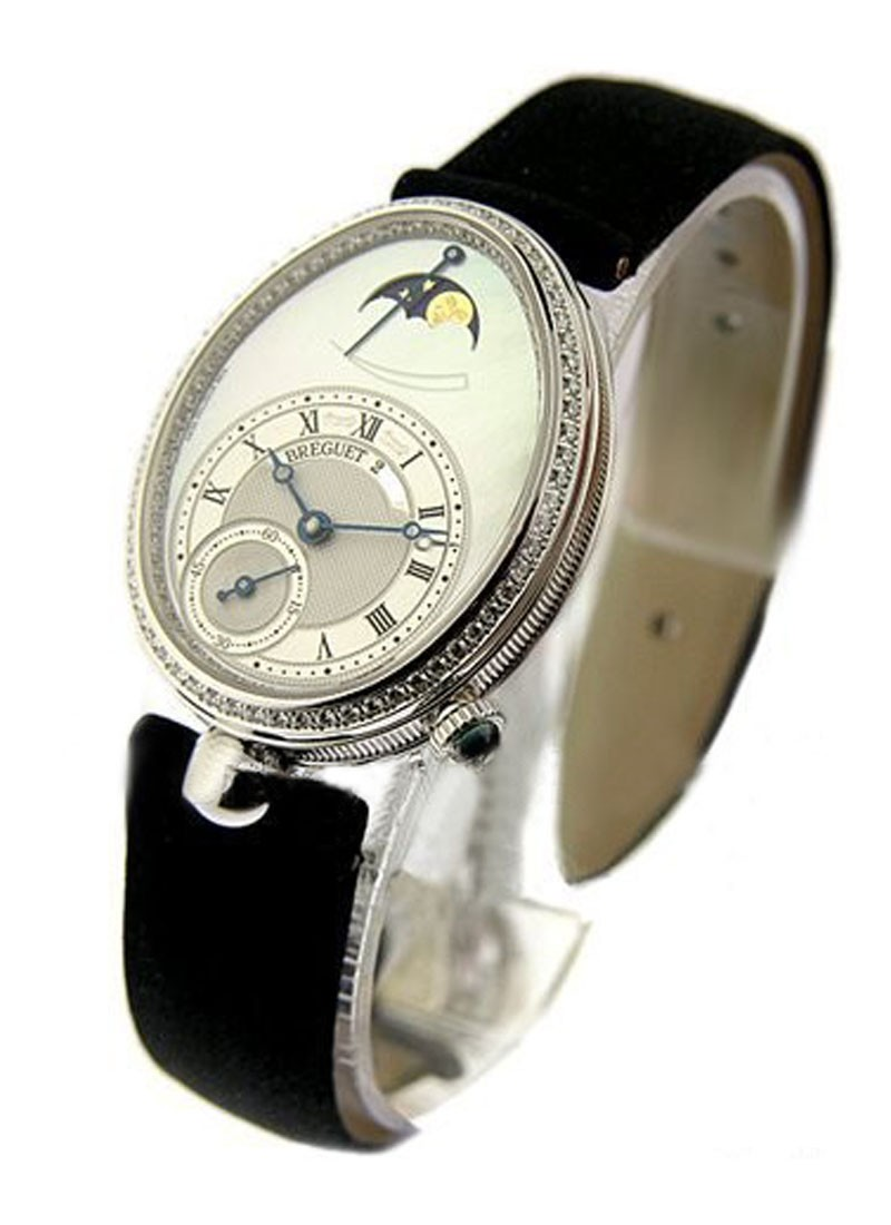 Breguet Queen of Naples Large size in White Gold with Diamond Bezel