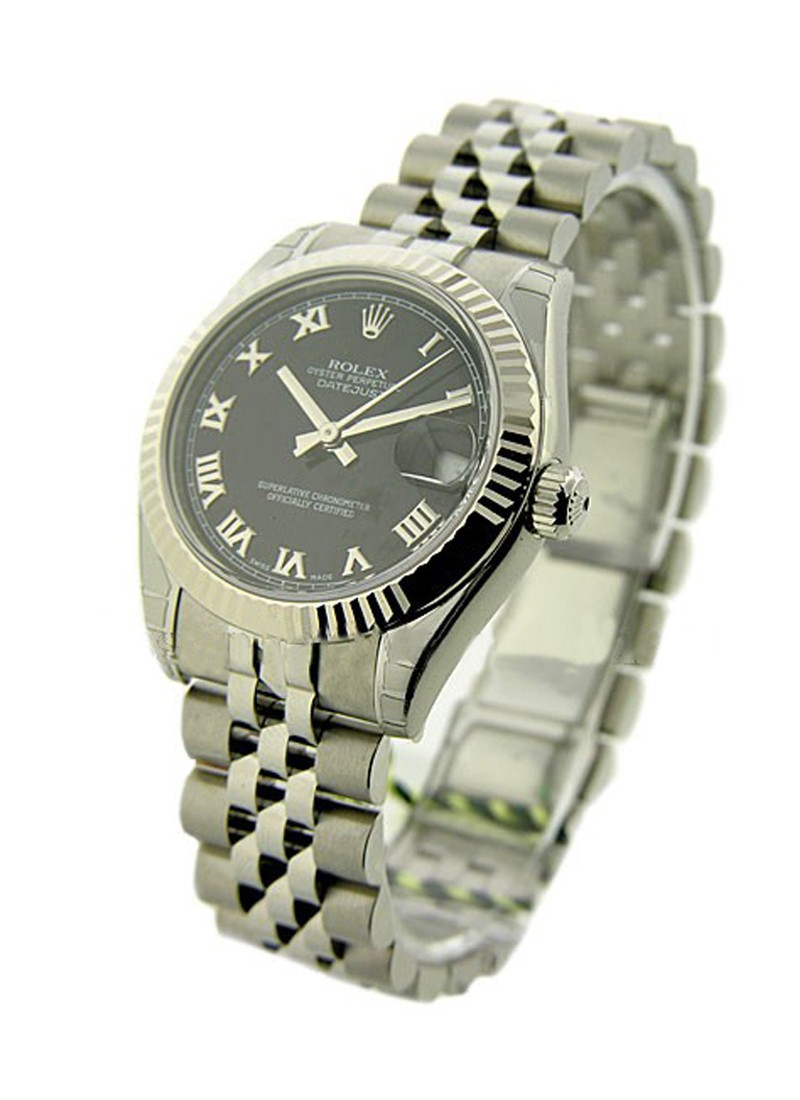 Rolex Unworn Mid Size 31mm Datejust in Steel with White Gold Fluted Bezel