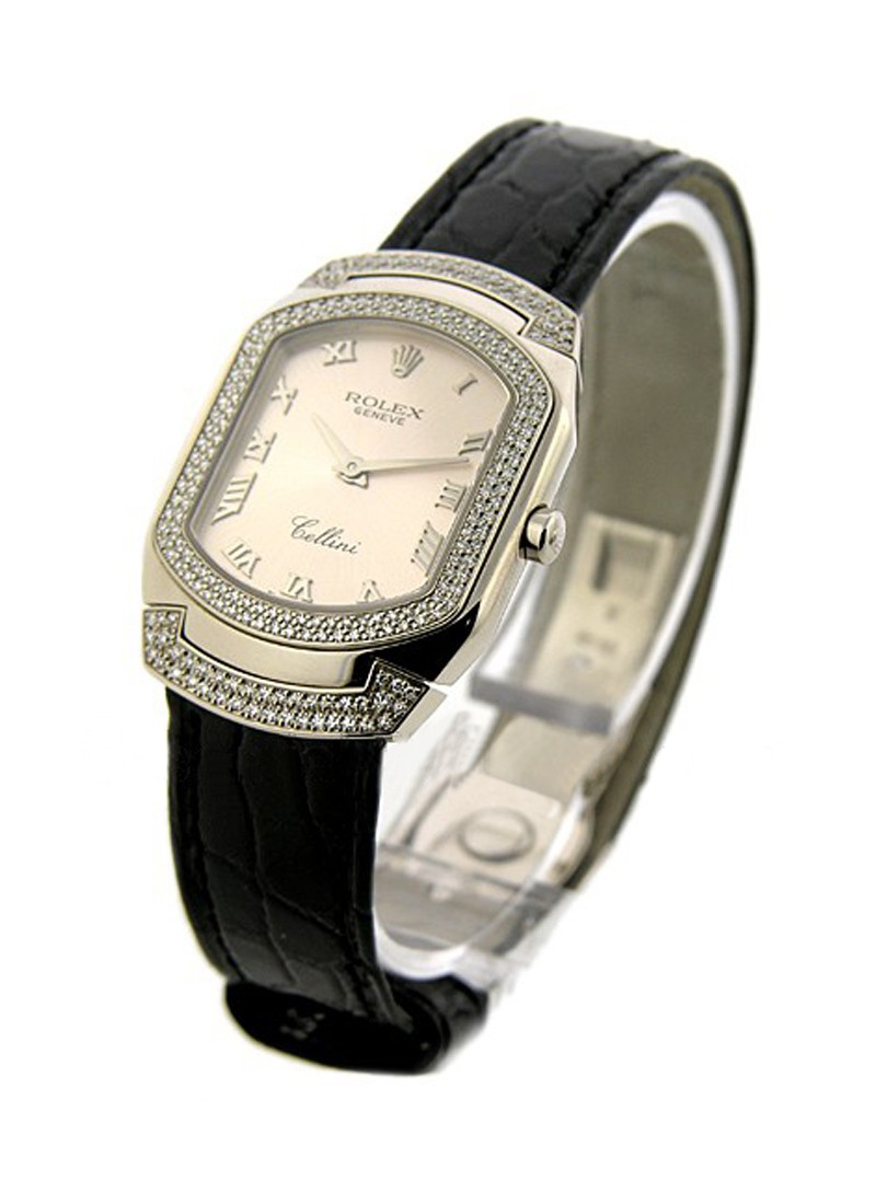 Rolex Unworn Cellini Cellisima in White Gold with 2 Row Diamond Bezel and Lugs