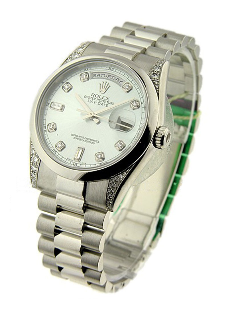Rolex Unworn Platinum Men's Day - Date President with Diamond Lugs