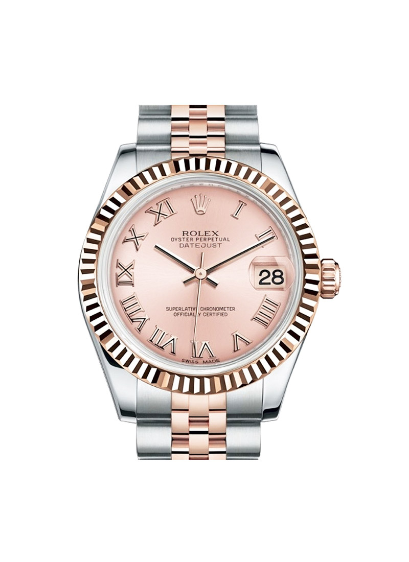 Rolex Unworn Mid Size 31mm Datejust in Steel with Rose Gold Fluted Bezel