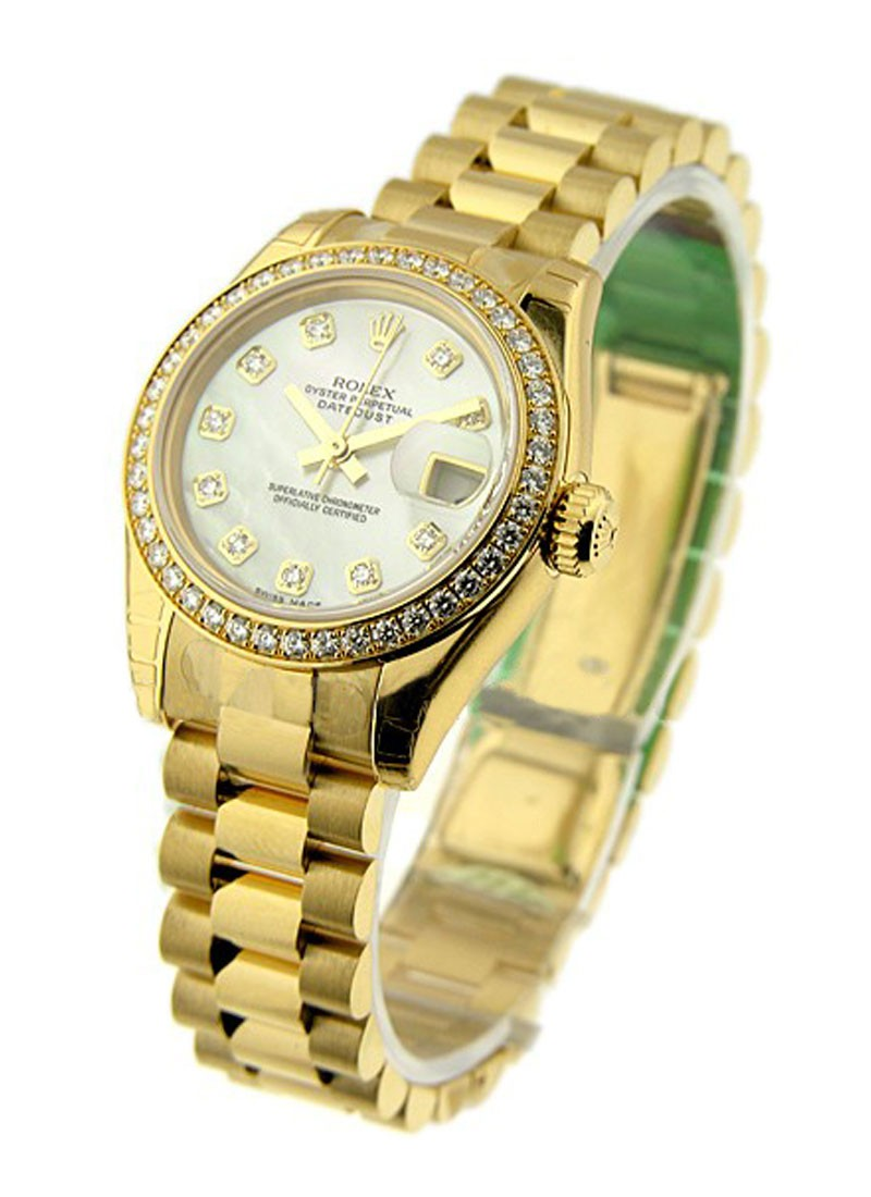 Rolex Unworn President Ladies in Yellow Gold with Diamond Bezel