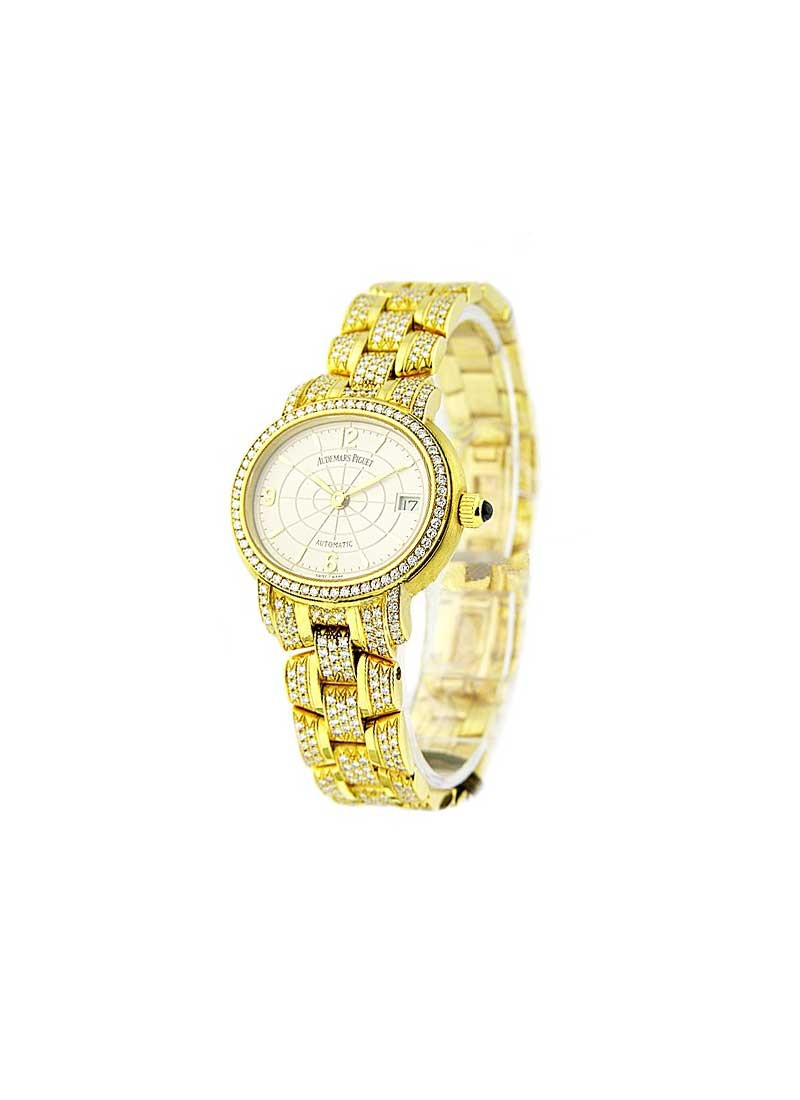 Audemars Piguet Lady's Millenary 28mm Automatic in Yellow Gold with Factory Diamonds Bezel