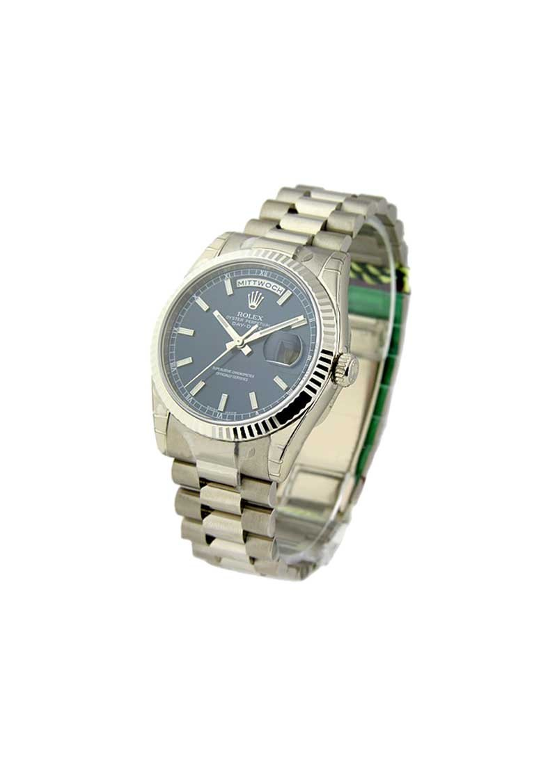 Rolex Unworn Men's President Day - Date in White Gold with Fluted Bezel