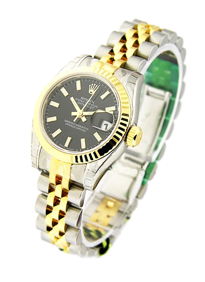 Rolex Unworn Lady's Datejust in Steel with Yellow Gold Fluted Bezel