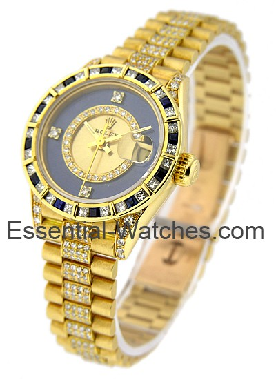 Pre-Owned Rolex Ladies President in Yellow Gold with Diamond Bezel