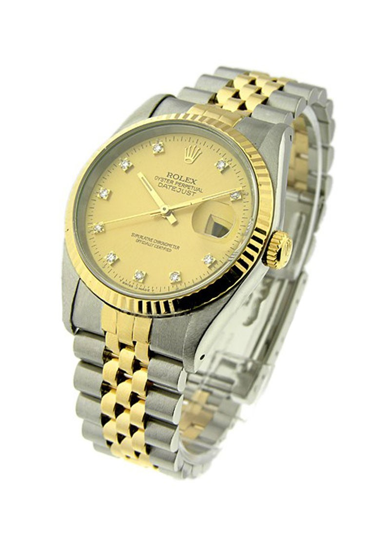 Rolex Used Datejust 36mm in Steel with Yellow Gold Fluted Bezel  circa 1991
