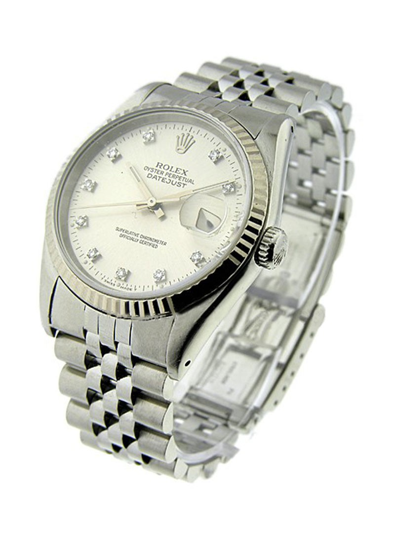 Pre-Owned Rolex Men's Datejust 36mm in Steel with White Gold Fluted Bezel