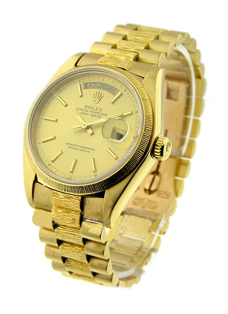 Rolex Used Day-Date 36mm President in Yellow Gold with Barked Bezel