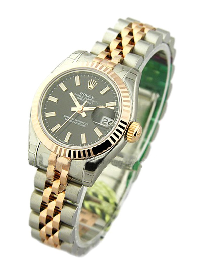 Rolex Unworn Ladies 26mm Datejust in Steel with Rose Gold Fluted Bezel