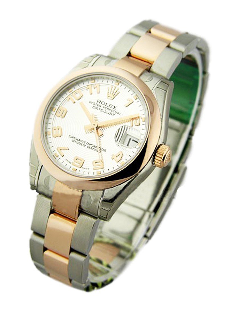 Rolex Unworn Datejust in Steel with Rose Gold Domed Bezel