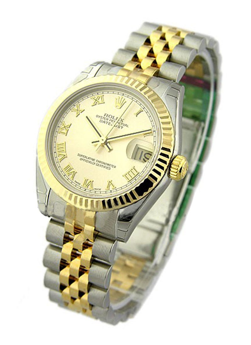 Rolex Unworn Datejust 2 Tone Midsize in Steel with Yellow Gold Fluted Bezel