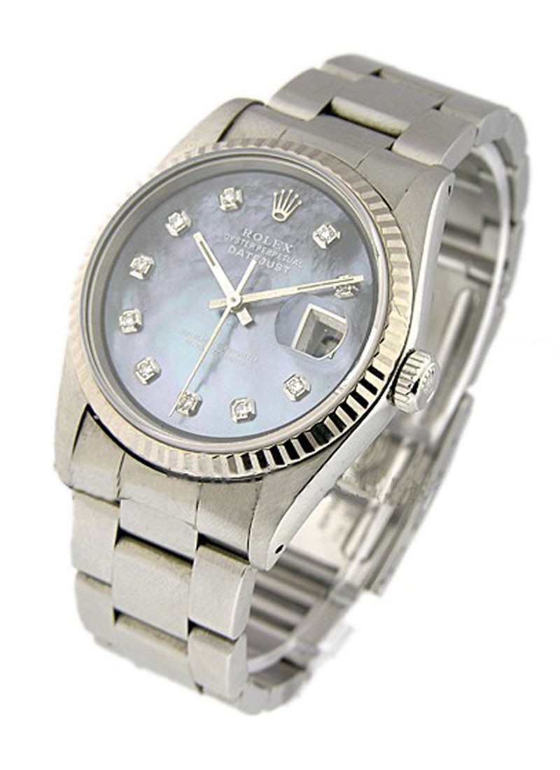 Rolex Used Datejust in Steel with Fluted White Gold Bezel   Circa 1992