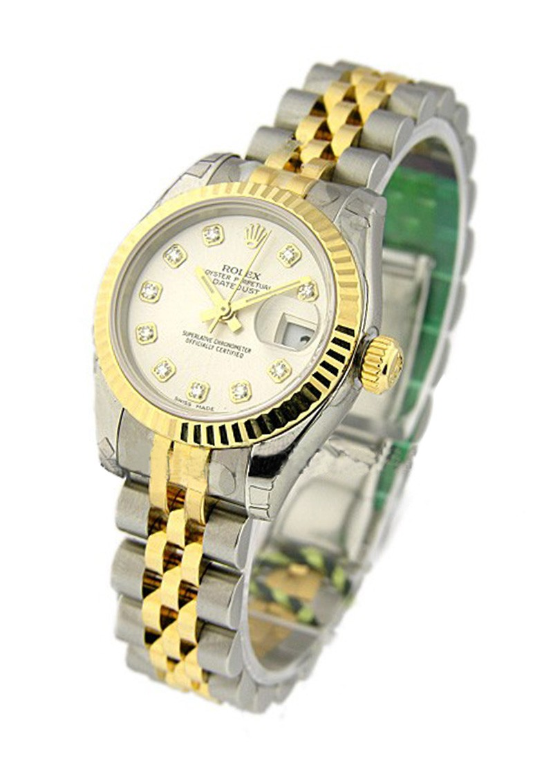 Rolex Unworn 26mm Ladies Datejust in Steel with Yellow Gold Fluted Bezel