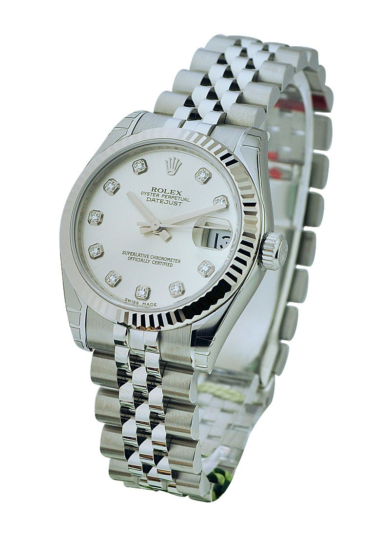 Rolex Unworn Mid Size 31mm Datejust in Steel with Fluted Bezel