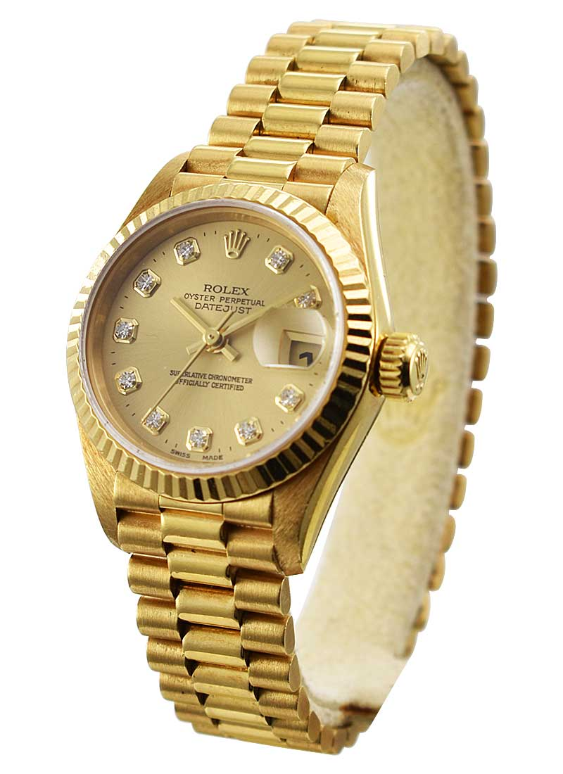 Pre-Owned Rolex President in Yellow Gold with Fluted Bezel