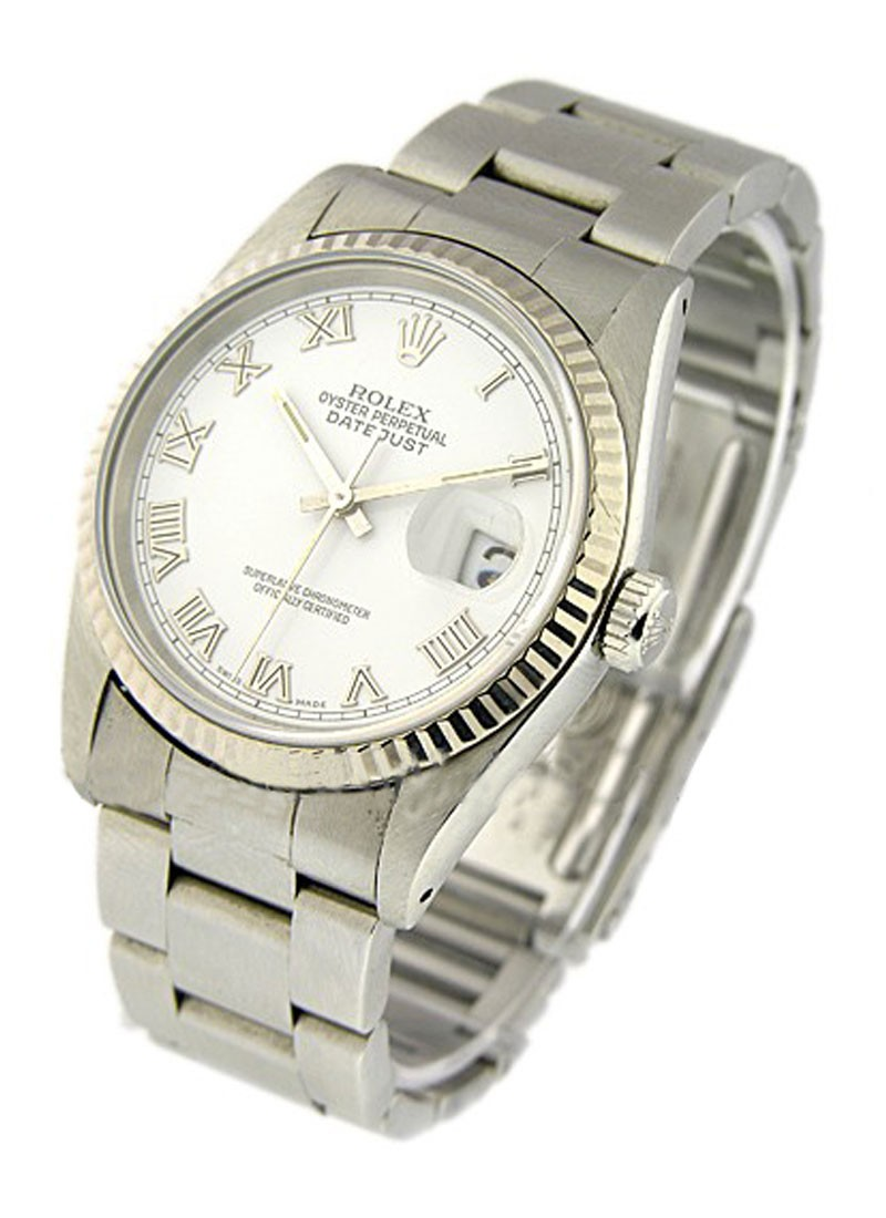 Pre-Owned Rolex Men's Datejust 36mm with White Gold Fluted Bezel