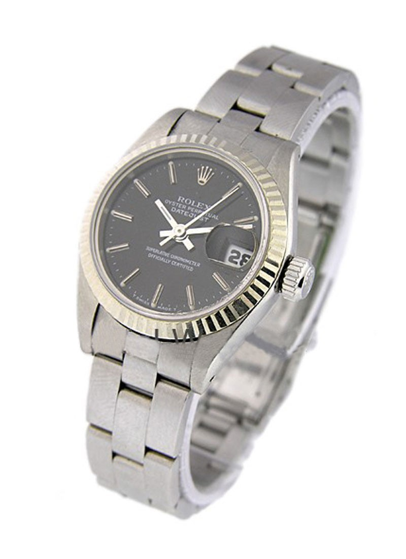 Pre-Owned Rolex Lady's Datejust in Steel with White Gold Fluted Bezel