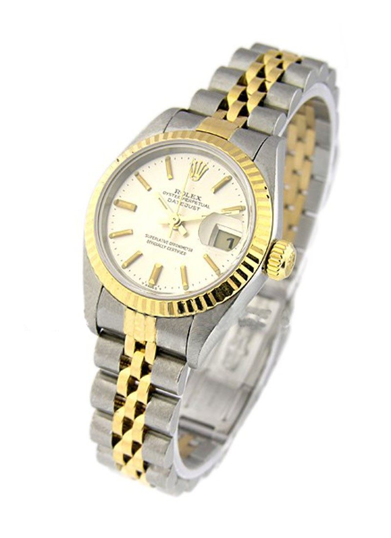 Pre-Owned Rolex Lady''s 2-Tone Datejust in Steel with Yellow Gold Fluted Bezel