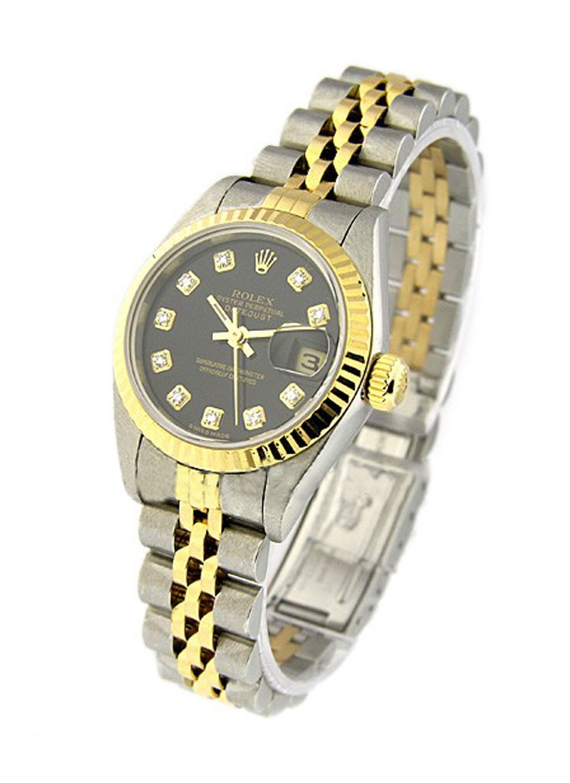 Rolex Used Datejust Lady's in Steel and Yellow Gold Fluted Bezel