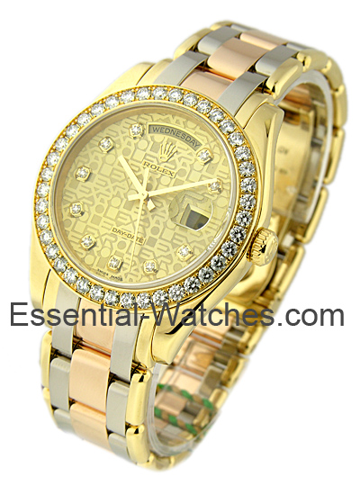 Pre-Owned Rolex Tridor Masterpiece Day Date with Yellow Gold Diamond Bezel