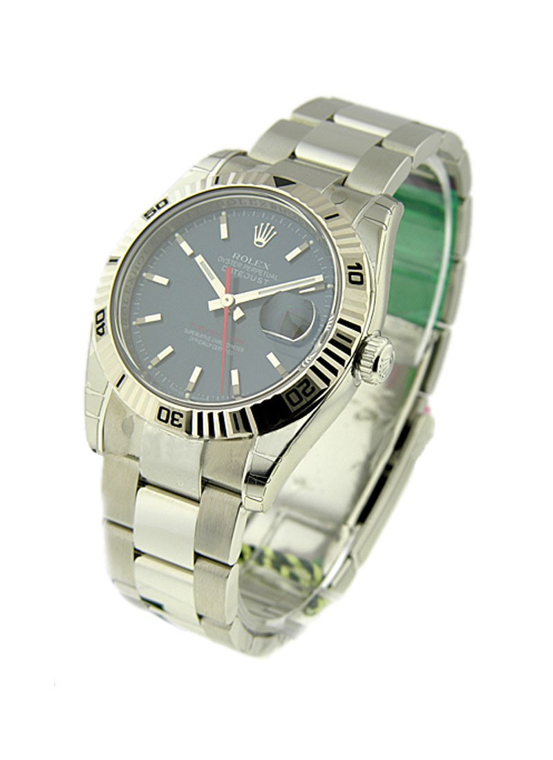 Rolex Used Turn o graph Datejust in Steel with Fluted Bezel