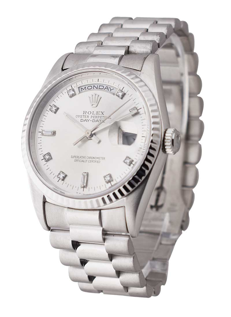 Pre-Owned Rolex President 36mm in White Gold Fluted Bezel