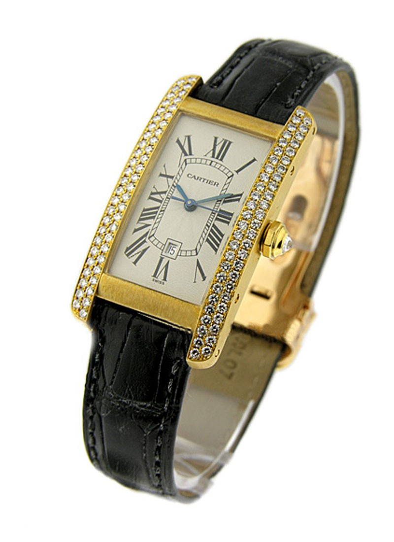 Cartier Mid  Size   Tank Americain with Diamond Case