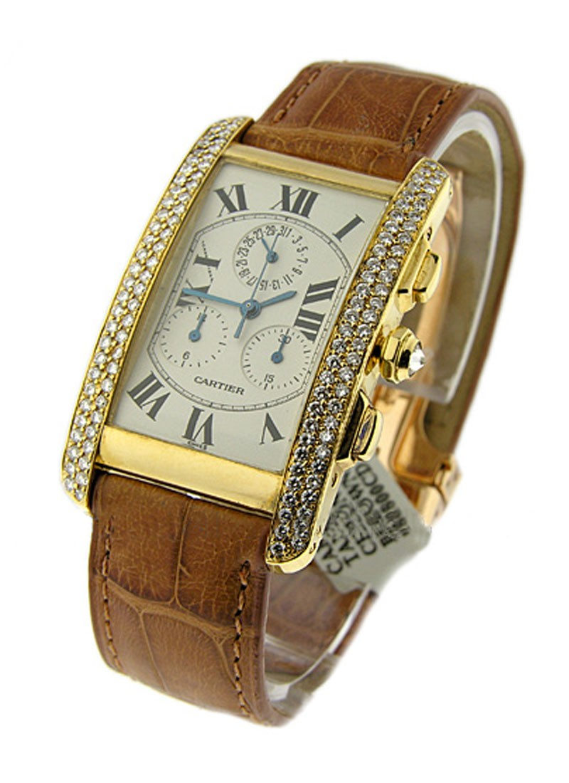 Cartier Tank Americain Chronoflex 18K Yellow Gold on Strap