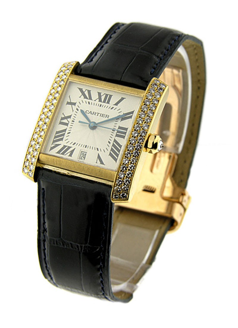 Cartier Large Size - Tank Francaise with Diamond Bezel