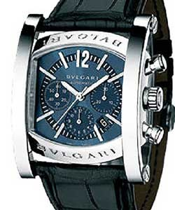 b4b6d220035 Bvlgari Assioma Chronograph in Steel on Black Crocodile Leather Strap with  Blue Dial