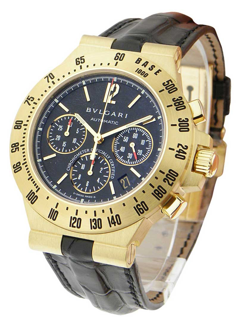 chronograph diamond bulgari diagono solid in watches gold rose bvlgari